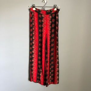 Urban Outfitters Wide Leg Crop Printed Red Pants